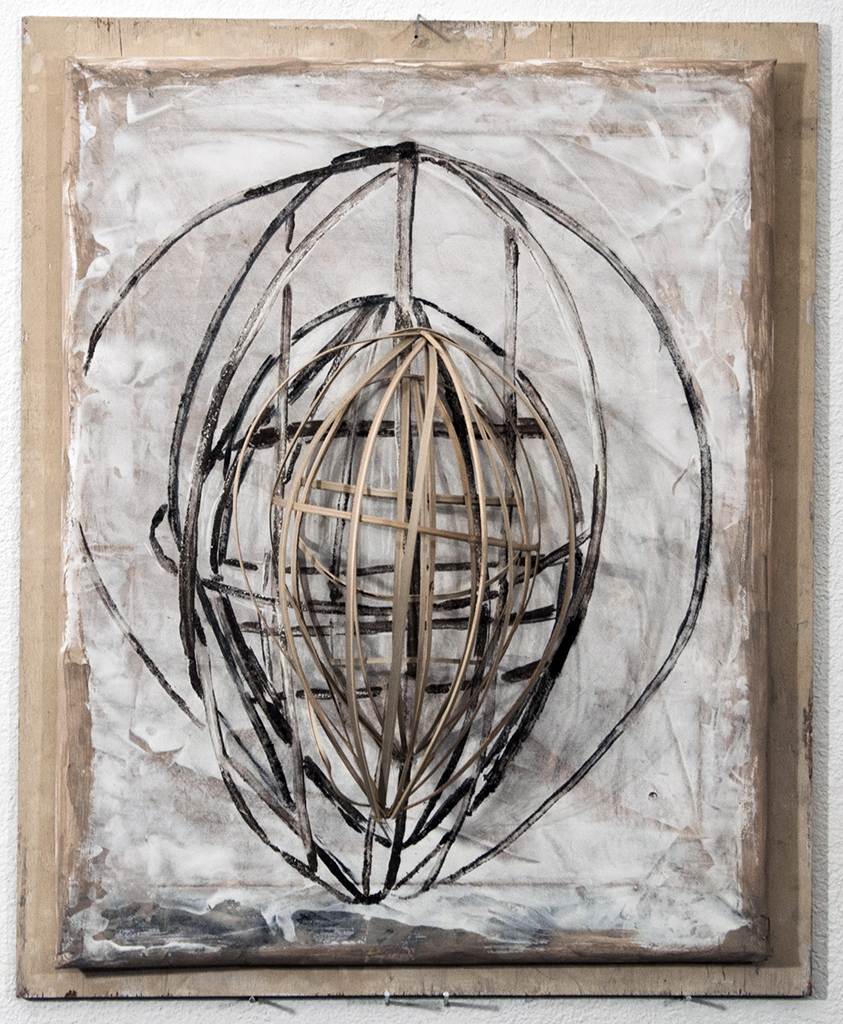 Lauren A. Toomer, Mask (W.L), 2012 Bamboo strips, dirt, pastel, charcoal, wood, paper stretched over canvas bar22 ⅛ x 18 x 7 inches