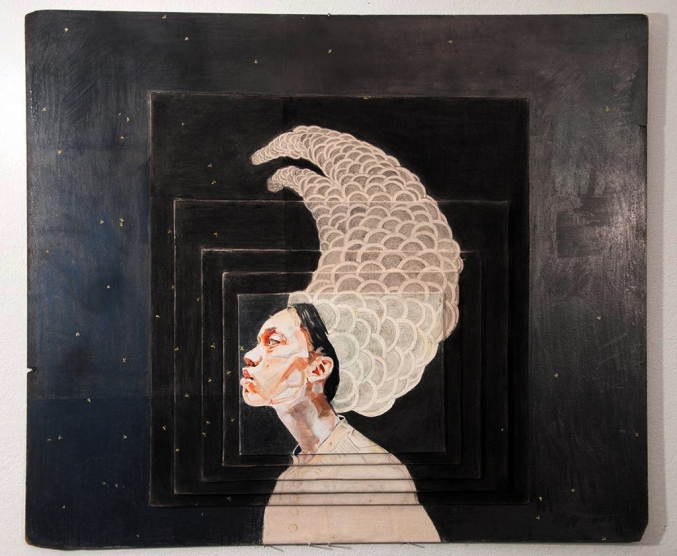 Lauren A. Toomer Portrait of Who? (L2), 2012 Oil, graphite, raw canvas, on panel  36 ⅝ x 43 ¾ x 1 ½ inches