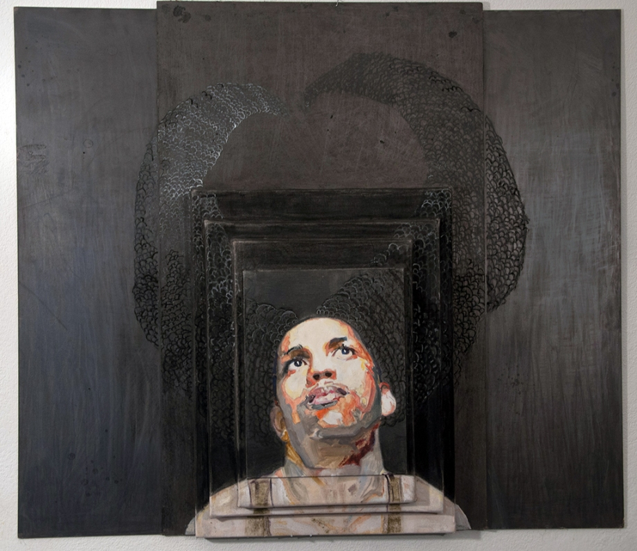 Lauren A. Toomer Portrait of Who? (R2), 2012  Oil, graphite, panel, wood, on stacked raw canvases. 37 ⅝ x 42 ¼ x 3 inches