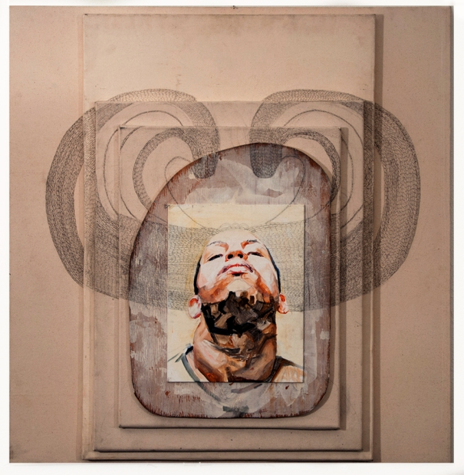 Lauren A. Toomer Portrait of Who? (R1), 2012 Oil, graphite, wood, on stacked raw canvases 37 ⅝ x 42 ¼ x 3 inches