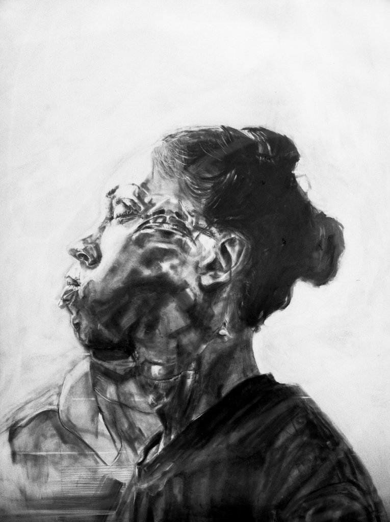 Lauren A. Toomer Dual Face Lau #4, 2013 Graphite on panel| 42 x 35""