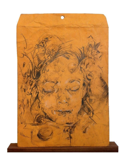 Lauren A, Toomer Fayum Portrait #1, 2013 Graphite and white charcoal on found manila envelope, . 14 x 10 inches