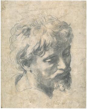Raffaello (also: Raphael) Sanzio da Urbino, Auxiliary cartoon for the Head of a Young Apostle, c.1519-20, 375 x 278 mm