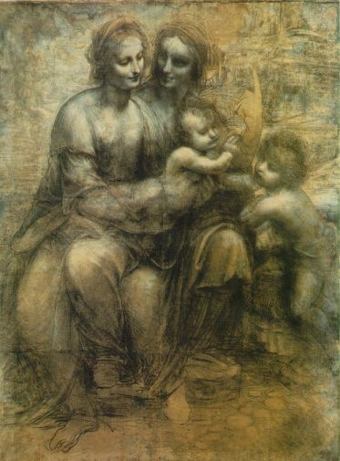 Leonardo da Vinci, The Virgin and Child with St Anne and St John the Baptist, c. 1499–1500 or c. 1506–8, charcoal, black and white chalk, on paper, 55.7 in × 41.2 in