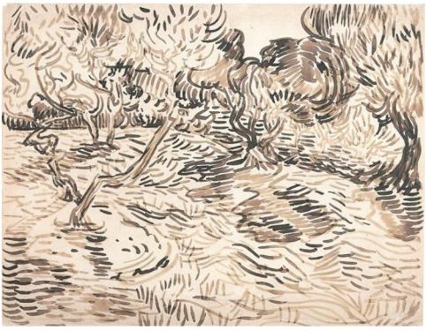 Vincent Van Gogh  Saint-Rémy Olives  1889  Reed pen and brown ink  Van Gogh Museum  Amsterdam