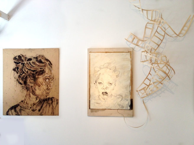 "Lauren A. Toomer Installation: ""Untitled - (Dirt drawing)"" and ""DNA (DNA Sculpture)""."