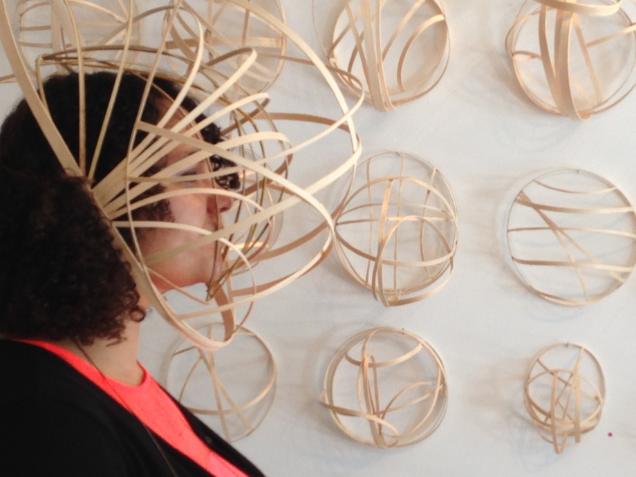 """Lauren A. Toomer Installation Shot of """"Atom Portraits (worn by Rhiannon)"""", 2013 Solo Show at A Simple Collective"""