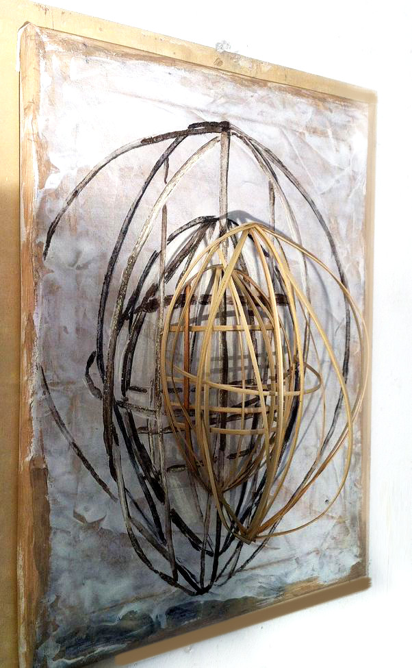 Lauren A. Toomer Mask Portrait (W.L). 2012| 22.5 x 18 x 7 inches| Bamboo strips, dirt, pastel, charcoal, wood, paper stretched over canvas bar.