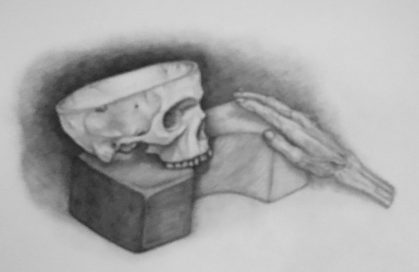 Katie Adams, Skull and hand study,graphite on paper, 18 x 24 in (student in my course course: Anatomy for Artists/Art&Anatomy-spring 2016)